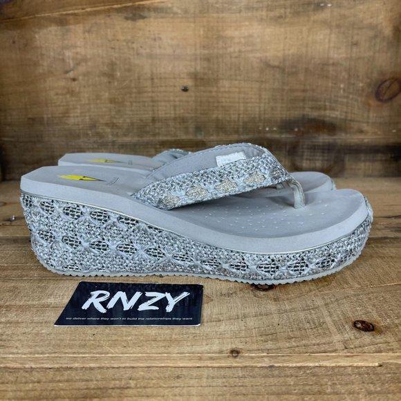 Volatile Grey Platform Wedge Flip Flop Sandals